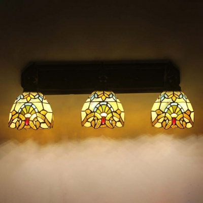 Victorian Tiffany Style 3-Light Wall Lamp with Dome Glass Shade