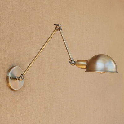 1 Bulb Swing Arm Wall Light Sconce Retro Style Metal Wall Light in Bronze for Study Room, HL496316
