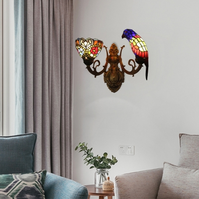 2 Heads Parrot and Flower Wall Light Tiffany Stained Glass Wall Light in Multicolor