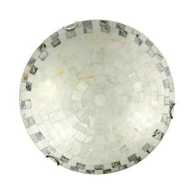 2 Light Shell Shade Flush Mount Ceiling Lights Stain Glass Tiffany Ceiling Light in Off-White