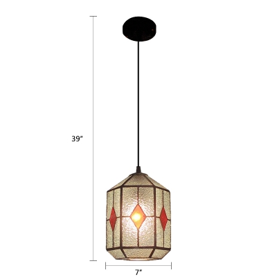 Ripple Glass Geometric Pendant Light Contemporary Small 1 Bulb Suspended Lamp in Green/Red