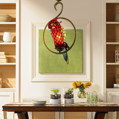 Tiffany Style Parrot Hanging Light Stained Glass 1 Bulb Lighting Fixture in Multi Color