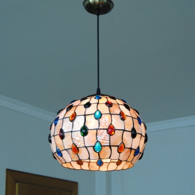 Colorful Bead Suspension Light Tiffany Style Beige Glass 1 Bulb Ceiling Pendant Light