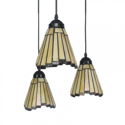 Adjustable Triple Head Geometric Drop Light Tiffany Style Mission Amber Glass Suspended Lamp