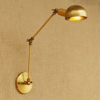 Arm Adjustable Sconce Light Vintage Loft Iron Single Light Lighting Fixture in Brass, HL496303