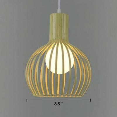 Beige Caged LED Pendant Ceiling Light Industrial Style Metal 1-Light Hanging Light