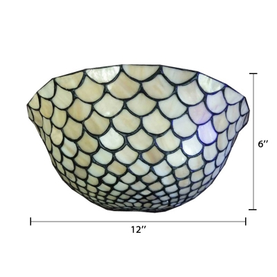 Beige Fish Scale Glass Shade 2 Light Tiffany Wall Washer Sconce Lighting 6