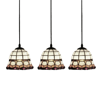 Bell Shade Pendant Light Tiffany Style Adjustable Stained Glass 3 Heads Suspended Lamp