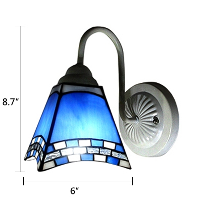 Blue and White Art Glass Tiffany Style One Light Wall Sconce