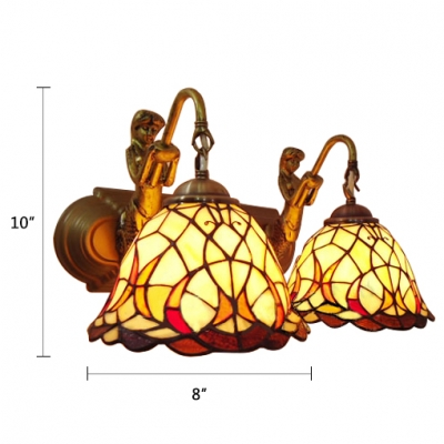 Double Heads Dome Wall Mount Fixture Tiffany Style Beige Glass Sconce Light for Corridor