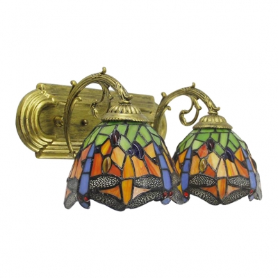 Multicolor Dragonfly Sconce Light Country Style Stained Glass Double Heads Wall Light