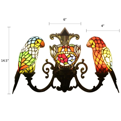 Multicolored Parrot Sconce Light Tiffany Style Stained Glass 3 Heads Accent Wall Lighting