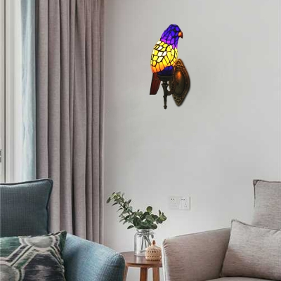 Parrot Wall Lamp Lodge Tiffany Style Stained Glass Decorative Wall Sconce in Blue