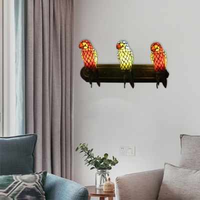 Parrot Wall Sconce Tiffany Retro Style Stained Glass 3 Heads Wall Light in Multicolor for Foyer