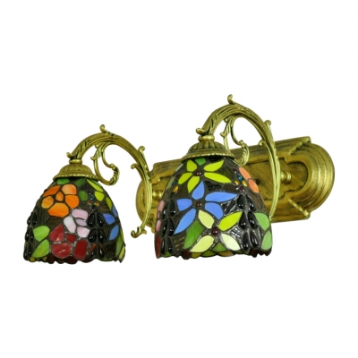 Tiffany Country Style Dome Wall Light Stained Glass Double Light Wall Lamp in Brass Finish