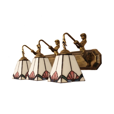 Tiffany Style Abstract Motif Mermaid 3 Lights Wall Sconce