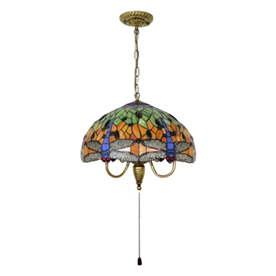 Tiffany Style Dragonfly Pendant Light Glass Triple Light Pull Chain Drop Light in Multi Color