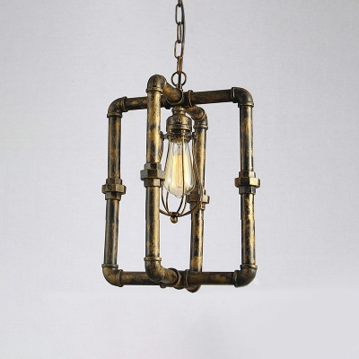Vintage Pipe Suspended Light Weathered Iron 1 Light Pendant Lamp for Porch Restaurant