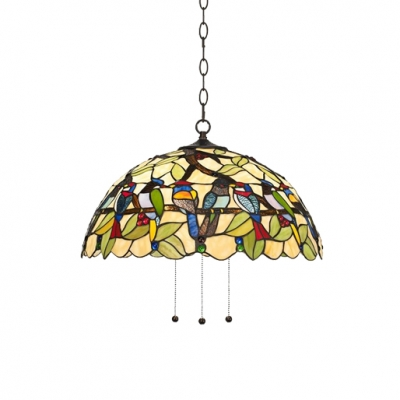 Beautifulhalo coupon: 1 Bulb Bird Design Drop Ceiling Lighting Vintage Stained Glass Hanging Light in Multi Color