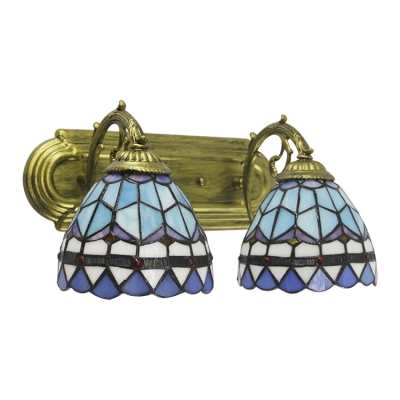 2 Lights Dome Wall Sconce Tiffany Mediterranean Style Stained Glass Wall Mount Fixture in Blue