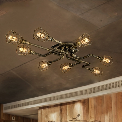 Antique Brass 8 Light LED Semi Flush Ceiling Light with Metal Cage