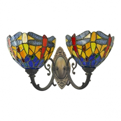 Dragonfly Bowl Wall Sconce Tiffany Stained Glass 2 Heads Wall Mount Light in Multi Color