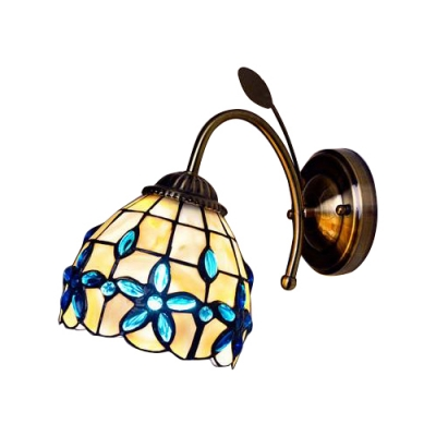 Floral Shelly Wall Lamp Traditional Tiffany Style Stained Glass Wall Sconce in Beige for Bedroom, Blue;brown