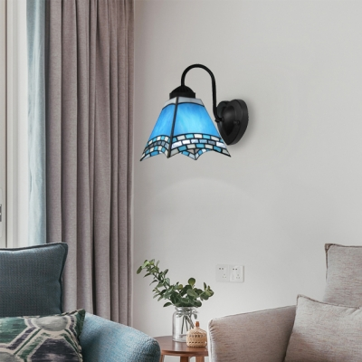 Gossamer Tiffany Blue/Yellow Wall Sconce Featuring Black Finished Wrought Iron Base
