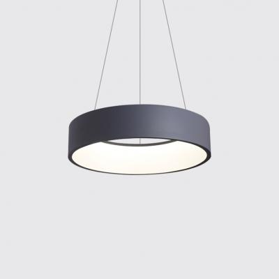 Gray Circle Led Suspension Lights Modern Style Acrylic Shade 1 Light