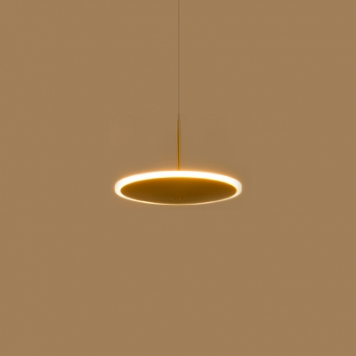 Metal Disc Pendant Hanging Lamp Post Modern Gold Finish LED Suspension Light for Restaurant Cafe Bar