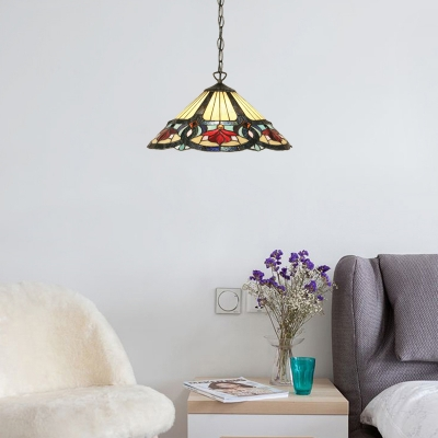 Multicolored Conical Hanging Light Stained Glass 1 Bulb Suspended Light for Restaurant