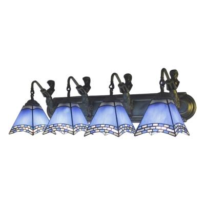 Nautical Tiffany Geometric Wall Sconce Blue Glass 4 Lights Wall Light Fixture with Mermaid