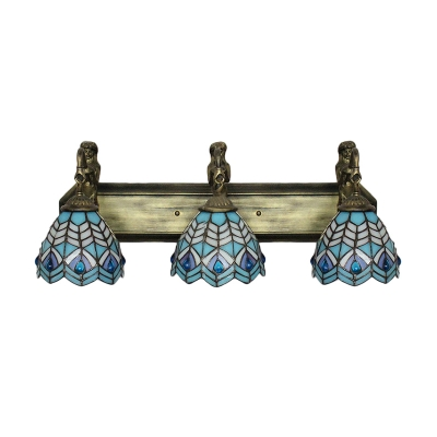 Romantic Blue Shade 25.5 Inch Mermaid Tiffany Bathroom Lamp