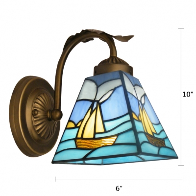 Romantic Sailing Boat Tiffany Wall Sconce Features Blue Dominated Glass Shade