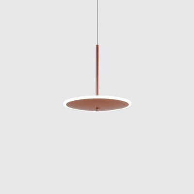 Rose Copper Disc Pendant Lamp Post Modern Acrylic Shade LED Hanging Light for Bar Restaurant