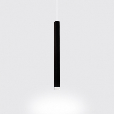 Slim Tube LED Track Pendant Light Modern Aluminum Downlight in Black for Reception Bar Counter
