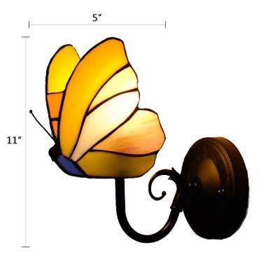 Tiffany Style Bronze Backplate Butterfly Design Single Light Wall Sconce