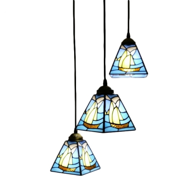 Triple Head Sailboat Hanging Light Nautical Tiffany Stained Glass
