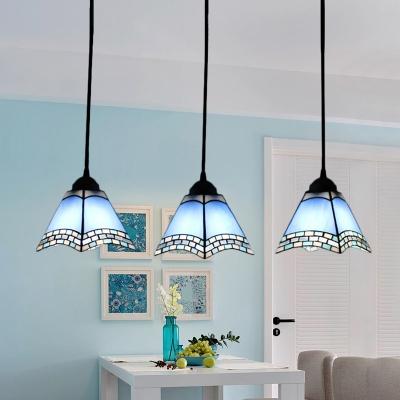 Triple Light Geometric Pendant Lamp Tiffany Style Blue/Pink Glass Hanging Light for Corridor