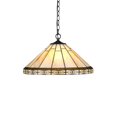 1 Light Geometric Pendant Lamp Tiffany Style Mission Stained Glass Suspension Light in Bronze