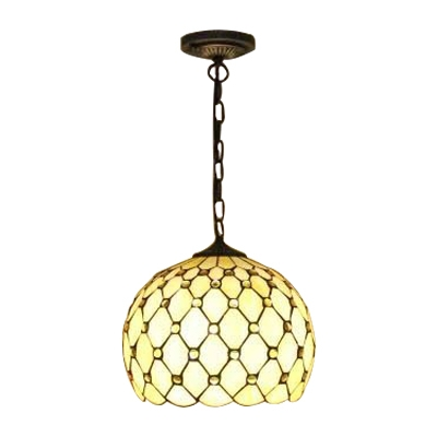 Orb Pendant Light Tiffany Style Stained Glass 1 Light Suspended Lamp in Beige/Blue