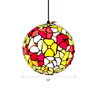 Globe Hanging Light Tiffany Style Stained Glass Art Deco Lighting Fixture in Multi Color