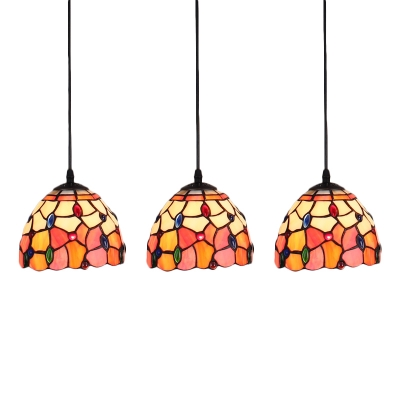 Adjustable 3 Heads Jeweled Drop Light Tiffany Stained Glass Suspended Light in Multicolor
