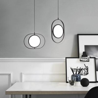 Adjustable Oval Shaped Hanging Light Nordic Style Aluminium Pendant Lamp in Black
