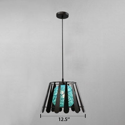 Ball Shade Suspended Light Industrial Metal Cord Pendant Lamp in Aqua for Bedroom
