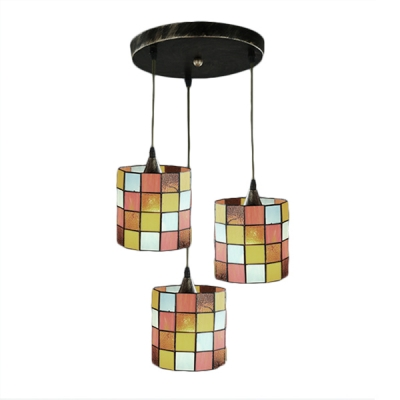 Checkered Pattern Drop Light Tiffany Style Stained Glass 3 Heads Suspended Light in Multicolor