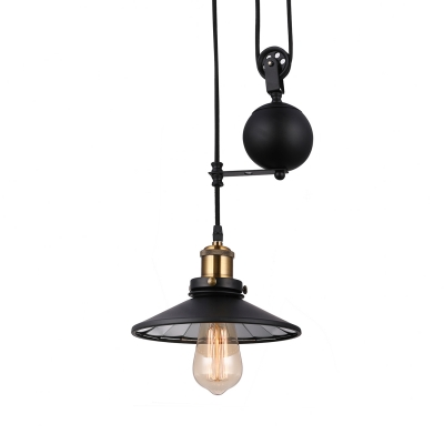 Cord Adjustable Shallow Round Pendant Light Industrial Single Light Metal Hanging Lamp