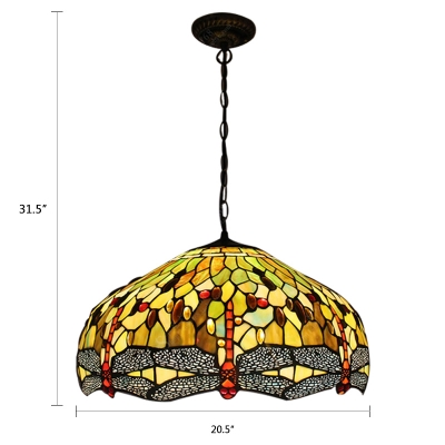 Dragonfly Suspended Light Tiffany Stained Glass 3 Head Pendant Light with Bead Decoration