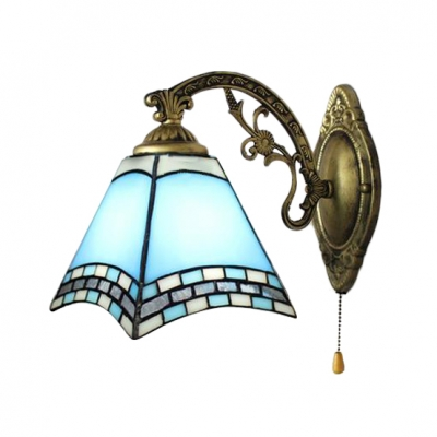 Geometric Wall Sconce Nautical Tiffany Style Stained Glass Pull Chain Wall Light in Multicolor