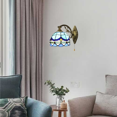 Pull Chain Dome Wall Lamp Nautical Tiffany Style Stained Glass Wall Sconce in Blue For Staircase